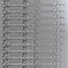 Sticker peel off adhésif argent  bonne fete