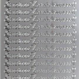 Sticker peel off adhésif argent  sincères condoléances