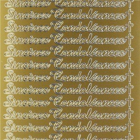 Sticker peel off adhésif or sincères condoléances