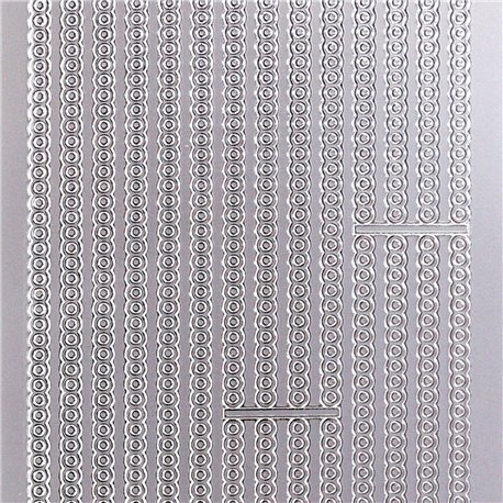 Sticker peel off adhésif argent lignes déco rondes