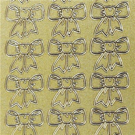 Sticker peel off adhésif or noeud en ruban