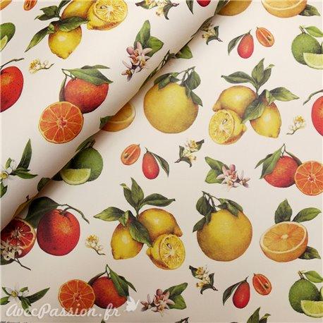 Papier tassotti motifs agrumes