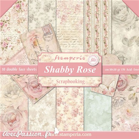 Papier scrapbooking assortiment assortiment shabby roses 10f recto verso