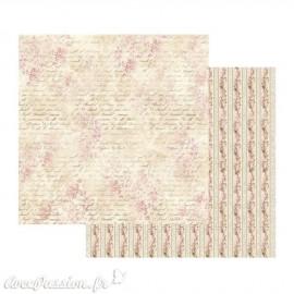 Papier scrapbooking réversible shabby frise roses et écritures