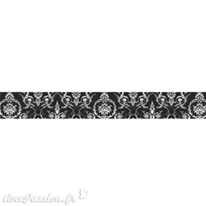 masking tape dentelle blanc fond noir ruban papier adh sif washi pas cher. Black Bedroom Furniture Sets. Home Design Ideas