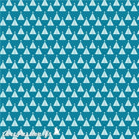Feuilles décopatch noël fond bleu sapin bleu argent