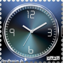 Cadran waterproof de montre Stamps shades of blue