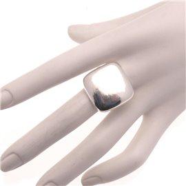Bague Ubu métal argenté carré réglable