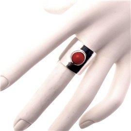 Bague Ubu carré perle rouge mat et métal argenté réglable