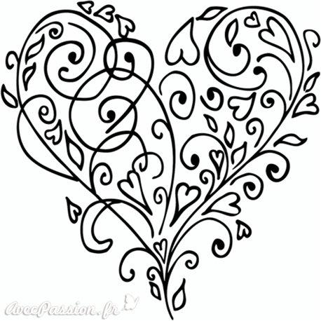 Tampon bois mariage coeur arabesque