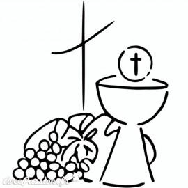 Tampon bois communion calice et croix