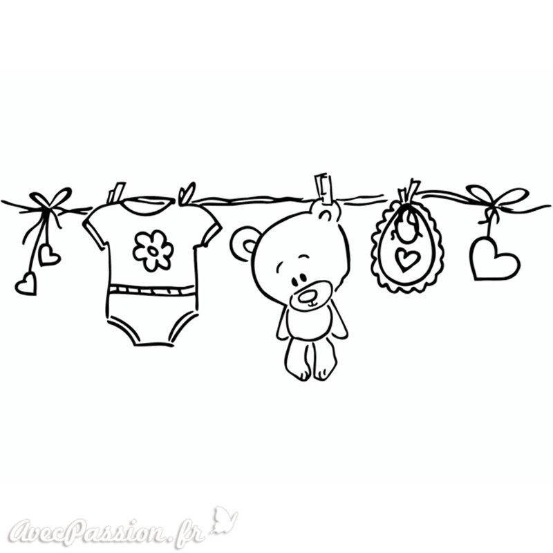 Tampon bois naissance corde linge cartes scrapbooking for Stickers fil a linge