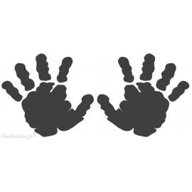 Tampon bois naissance empreintes de mains