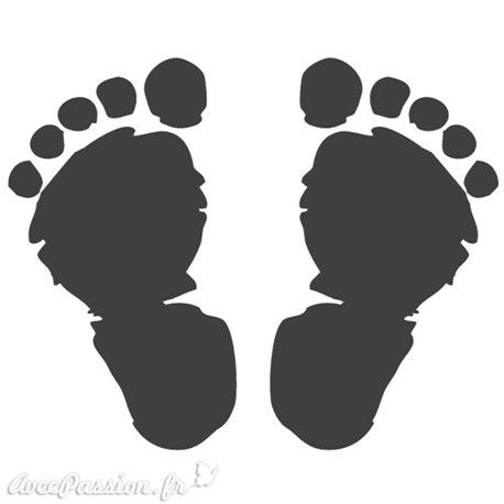 Tampon bois naissance empreintes de pieds