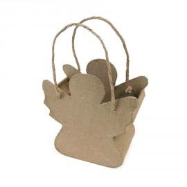 Objet brut sac cordon ange papier maché marron