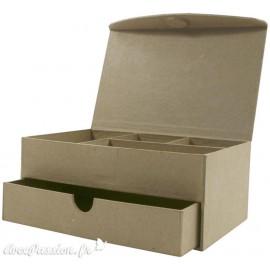 Objet brut boite à bijoux papier maché marron