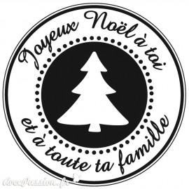 Tampon bois joyeux noël à toi e toute ta famille