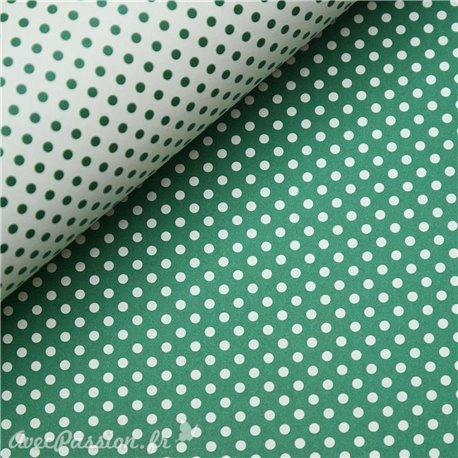 Papier tassotti motifs recto verso fond vert ou pois vert