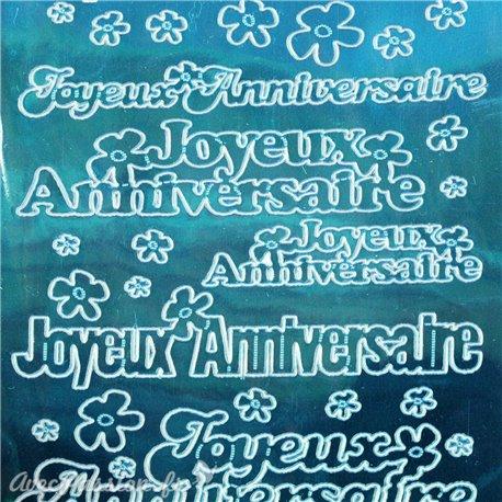 Sticker peel off adhésif bleu miroir texte joyeux anniversaire