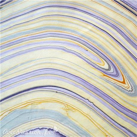 Papier marbré violet jaune liquid 70x100