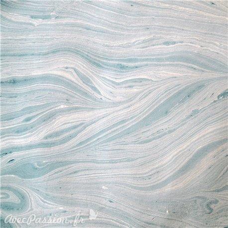 Papier marbré bleu métalisé glacier