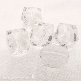 perle fantaisie x5 cube facette transparente