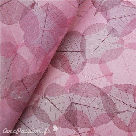 Papier rose incrustation feuilles Buddha