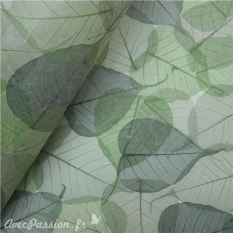 Papier vert incrustation feuilles Buddha