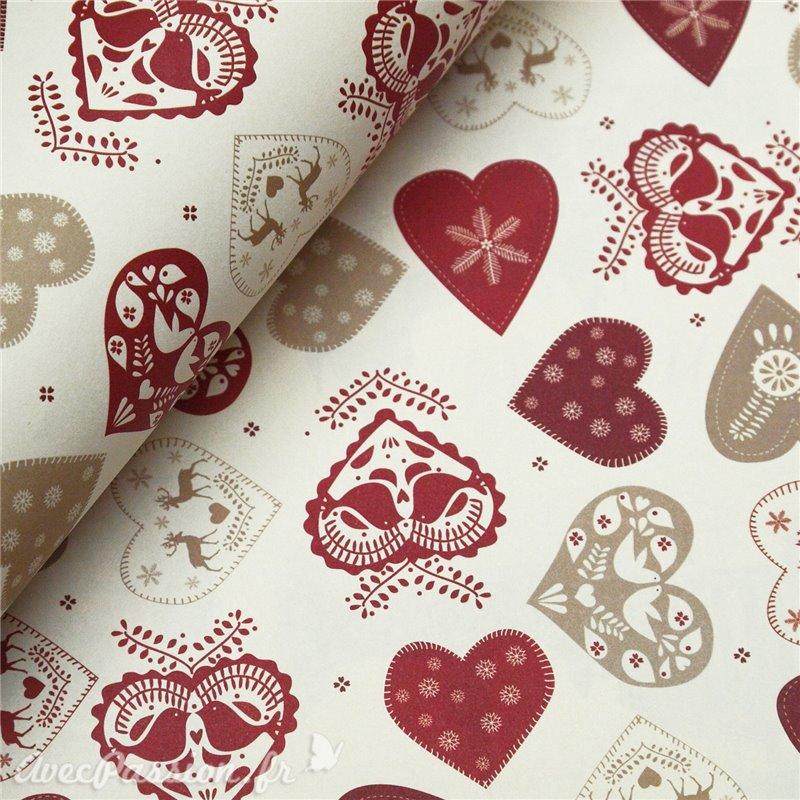 papier italien tassotti pour cartonnage motifs noel coeur rouges. Black Bedroom Furniture Sets. Home Design Ideas