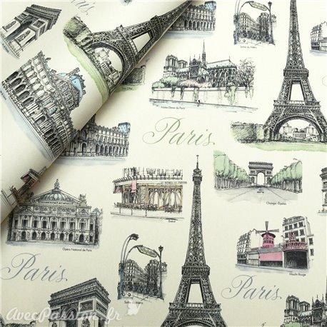 Papier tassotti motifs monuments de paris