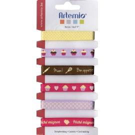 Ruban tissu Artemio 1cm assortiment de 6 rubans cupcakes de 1m