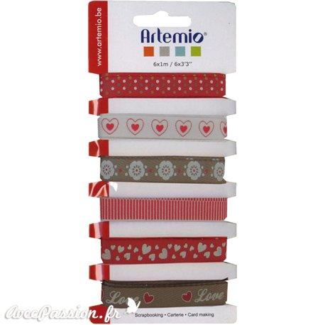 Ruban tissu amour 1cm assortiment de 6 rubans de 1cmx1m
