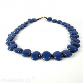 Collier fantaisie Kazuri céramique bleu shale -