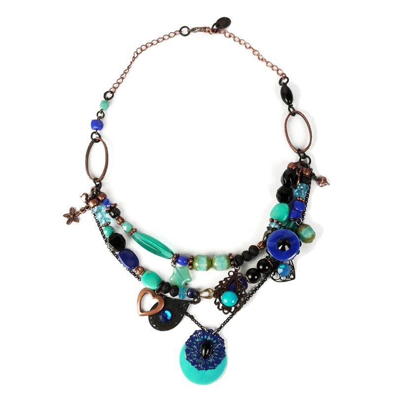 Collier fantaisie clair belle bleu turquoise 3 rangs for Bleu turquoise clair