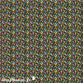 Feuille décopatch fond noir petites fleurs multicolores