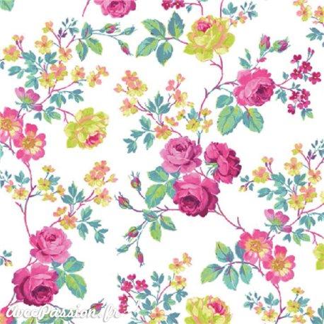 Feuille décopatch fond blanc roses rose
