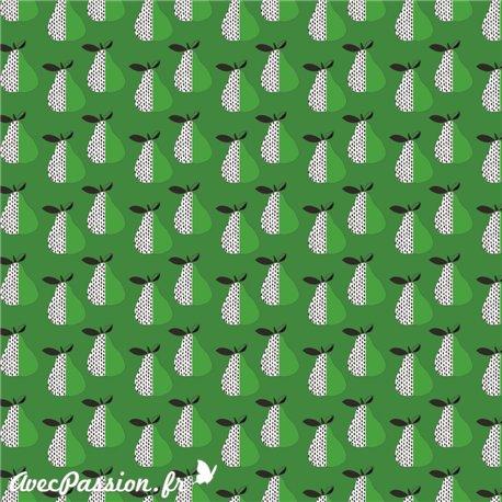 Feuille décopatch fond vert poires