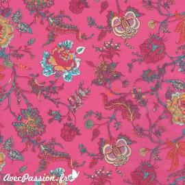 Feuille décopatch fond fuschia fleurs multicolores