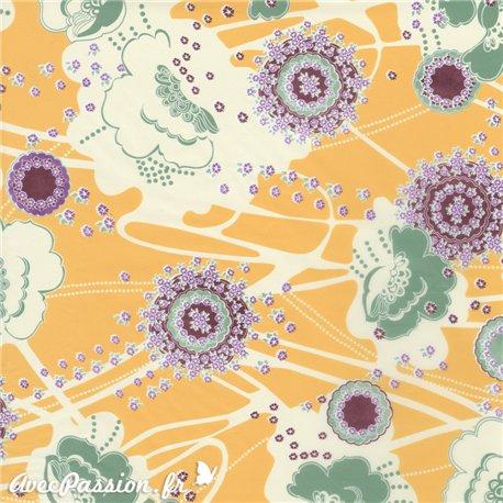 Feuille décopatch fond jaune fleurs multicolores