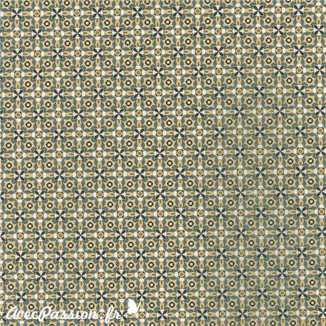 Feuille décopatch fond jaune motifs gris noir