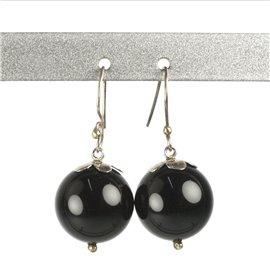 Boucles d'oreilles noires bijou de créateur boules -