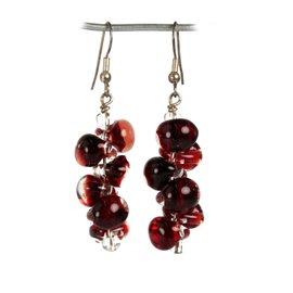 Boucles d'oreilles pendantes rouge créateur Périgrine
