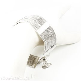 Manchette argent bracelet fantaisie multi rangs chaines Eneida