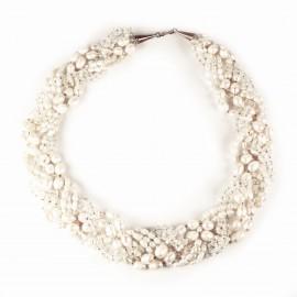 Ras de cou mariée Bo'Galé en perles couleur ivoire -