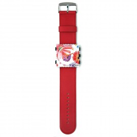 Bracelet de montre Stamps rouge satin-