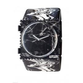 Bracelet élastique de montre Stamps belta marbré noir blanc