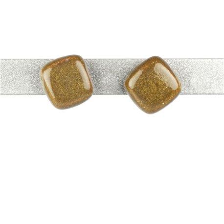 Boucles d'oreilles clous Kazuri céramique vert kaki carré -