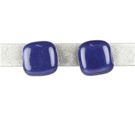 Boucles d'oreilles clous Kazuri céramique bleu carré --