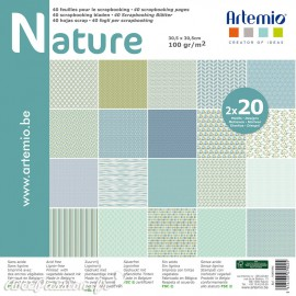 Papier scrapbooking assortiment nature 2x20fe