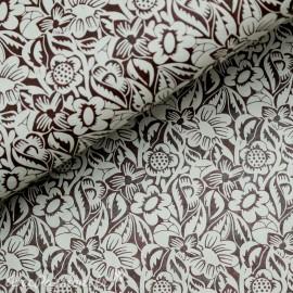 Papier népalais lokta lamaLi marron motifs fleurs frida gris